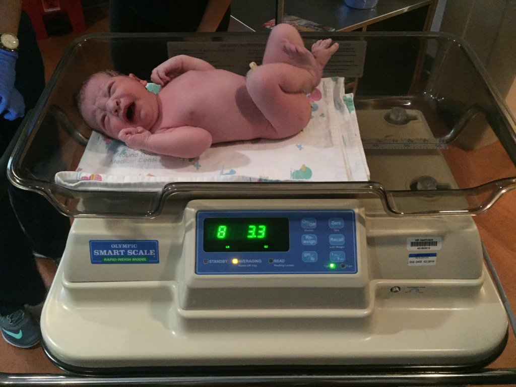 baby on scale for first weigh